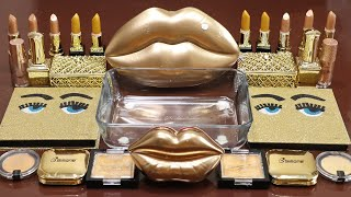 Mixing&quotGoldLips&quot Eyeshadow and Makeup,parts,glitter Into Slime!Satisfying Slime Video!ASMR
