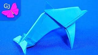 Оригами Дельфин из бумаги