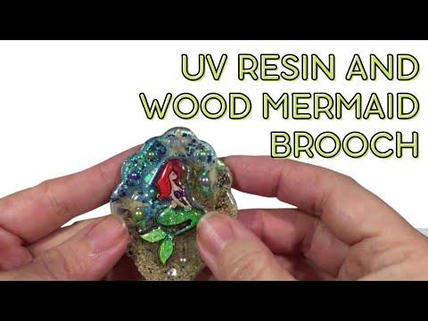 (Resin Art) UV resin and wood Mermaid Brooch