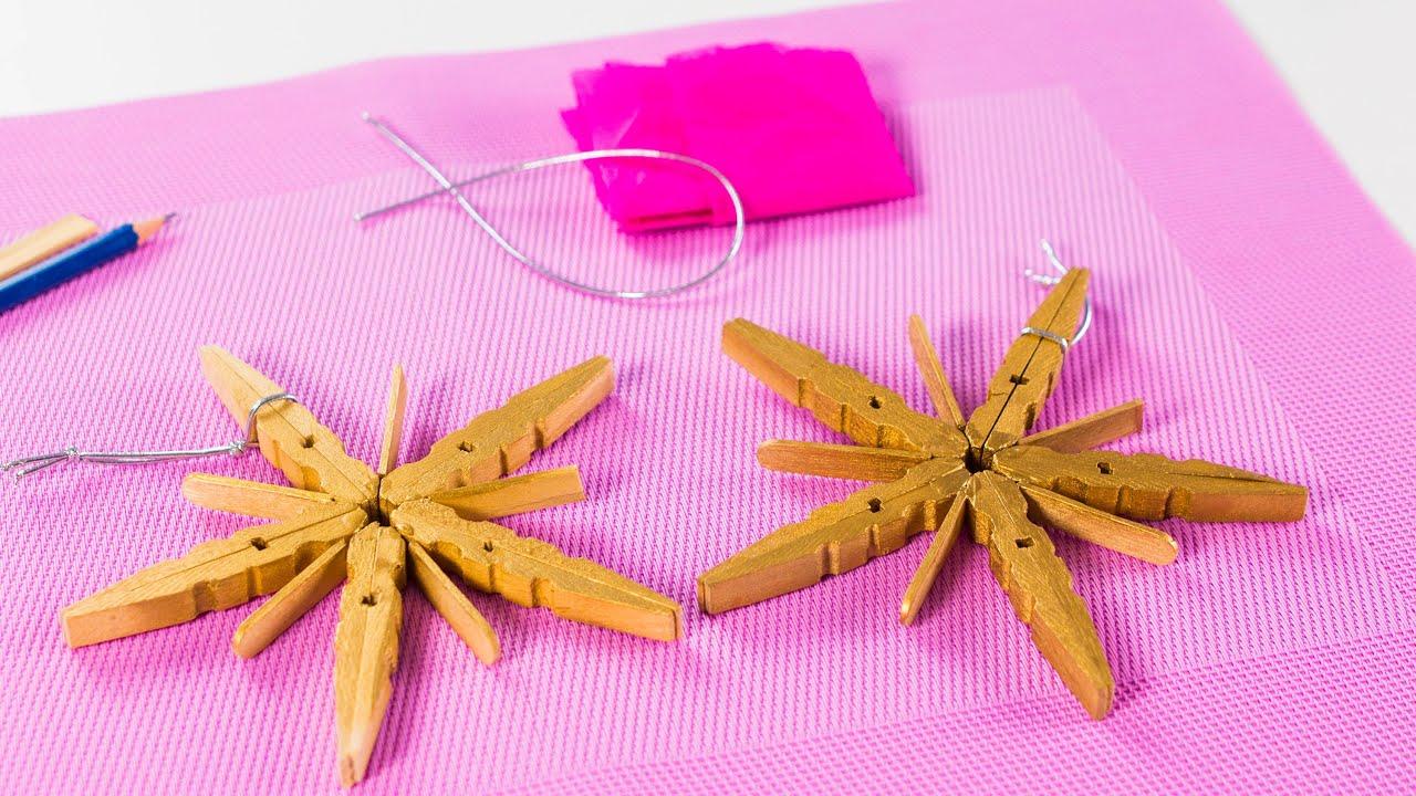 C mo hacer estrellas navide as con pinzas de madera youtube - Cosas de madera para hacer ...