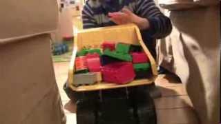 Tonka Dump Truck Hauls Lego Duplo Bricks