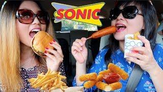 SONIC MUKBANG (CORN DOGS, BURGERS, MOZZ STICKS) 먹방 | Kim&Liz ASMR
