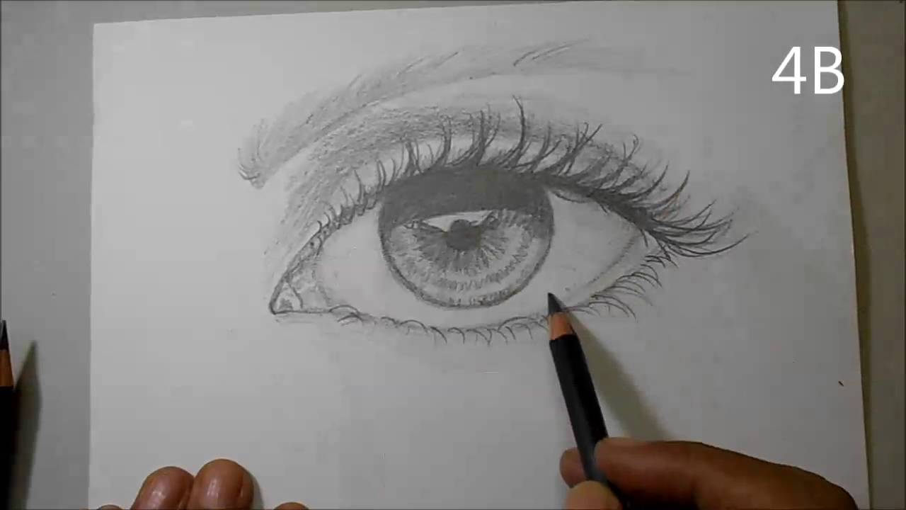 How to draw a realistic eye with derwent sketching pencils hb 2b 4b