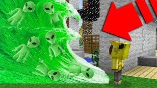 YEŞİL UZAYLI TSUNAMİ VS EV! - Minecraft (Uzaylı Dansı)