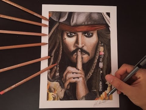 jack-sparrow-drawing-by-carlo-minichiello---speed-drawing-with-colored-pencil