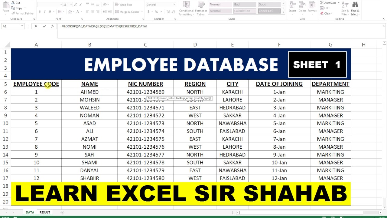 basic sheet excel   15 employee database sheet