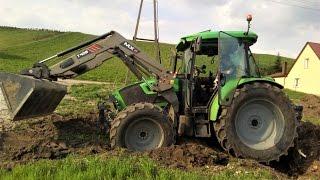 Ciężkie wyrywanie korzenia 2017 || Claas Arion620 & Deutz-Fahr 5110C ||