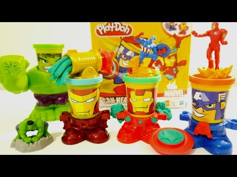 play doh avangers oyuncak oyun hamuru oyun seti  kahramanlar captain america ironman hulk 7