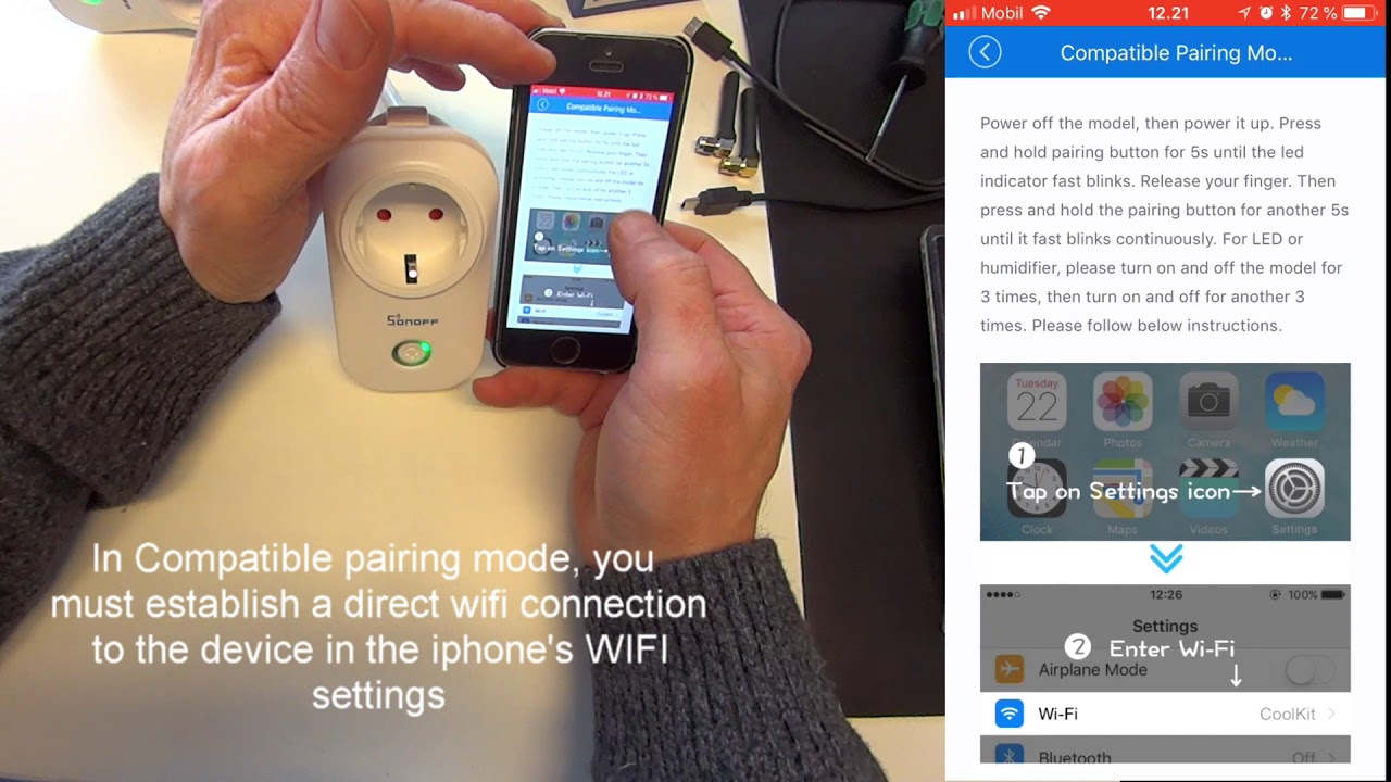 Adding Wifi smart home devices to an Ewelink account on the Iphone