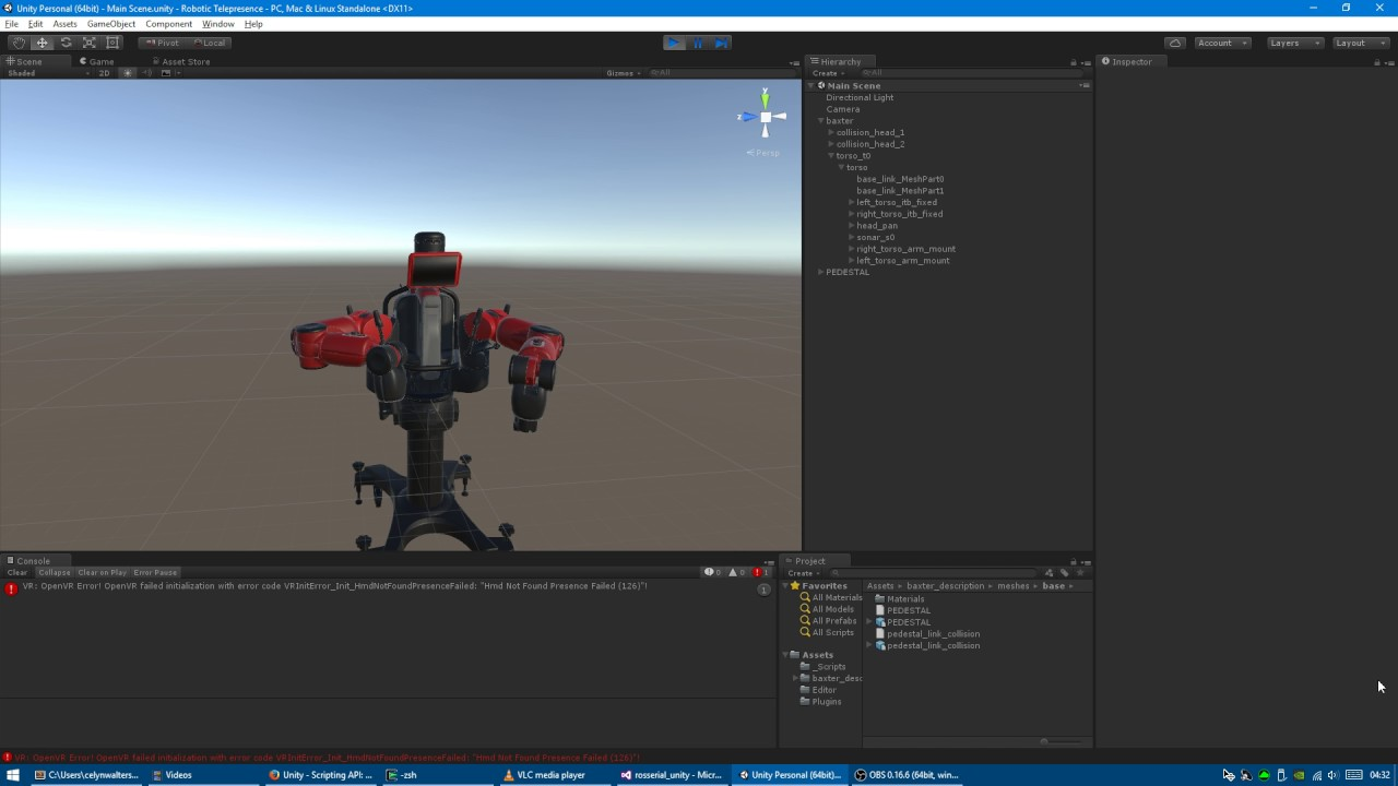 ROS & Unity3D, ReThink Robotics Baxter by Celyn Walters