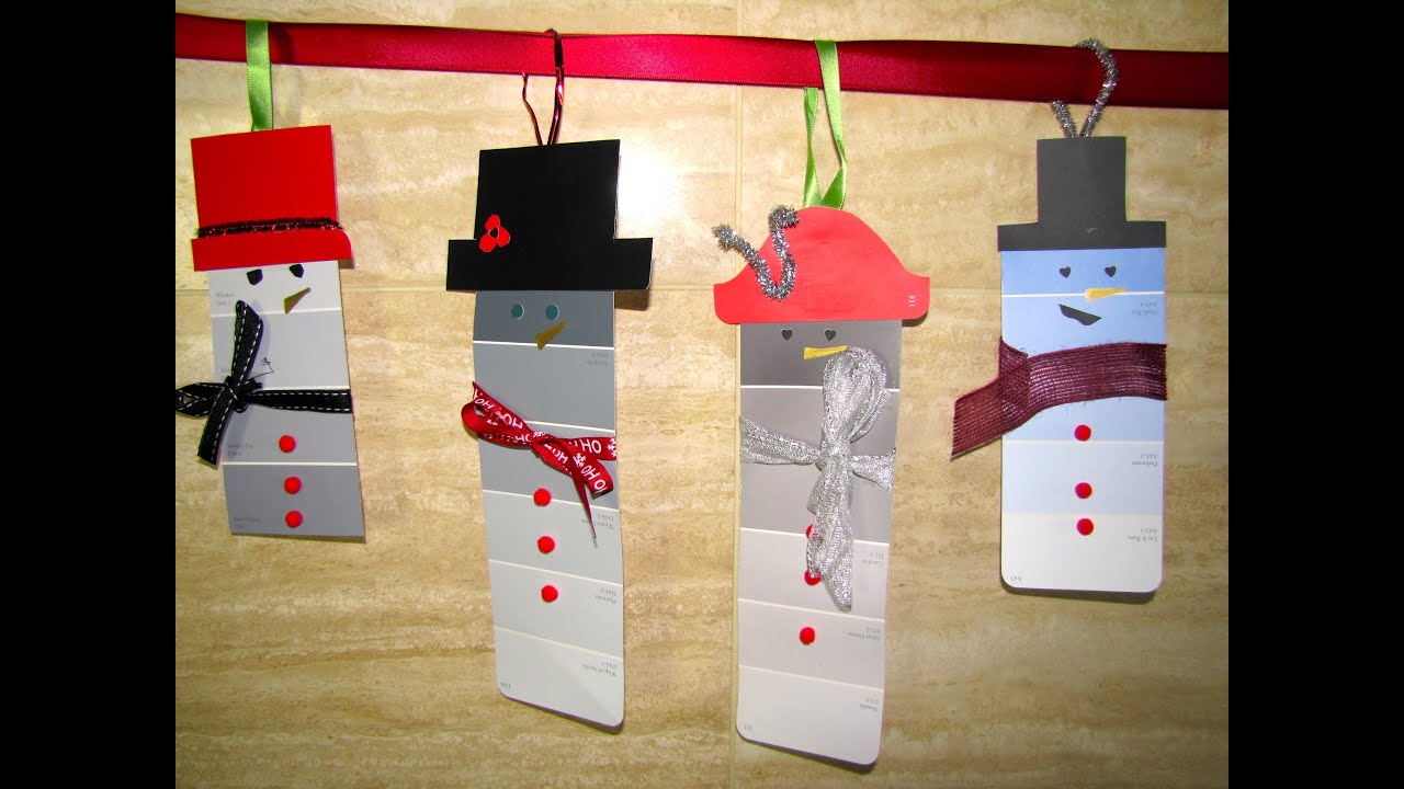 DIY Divas - Paint Chip Snowmen Ornaments - YouTube