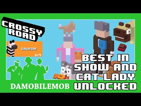 ★ CROSSY ROAD Secret Characters | BEST IN SHOW and CAT LADY Unlocked (Savanna Update April 2017)