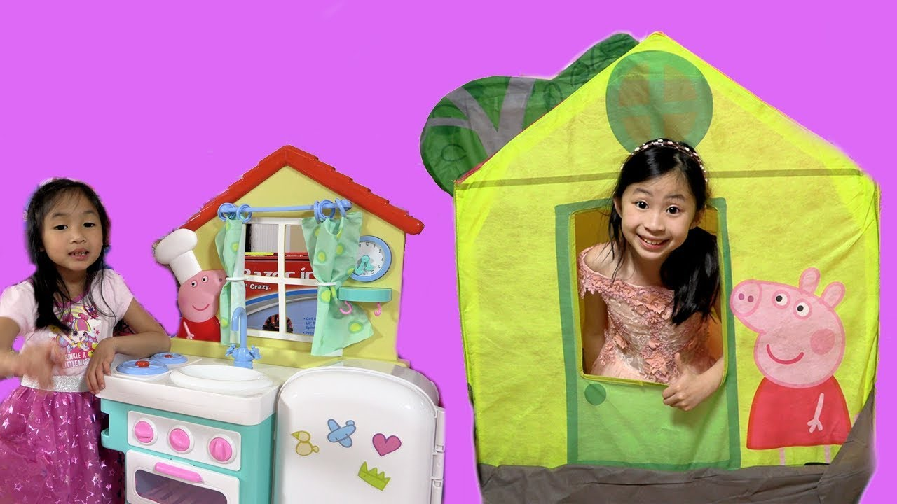 finest selection 75153 fd830 Chloe Pretend Play with Peppa Pig Treehouse Tent Toy with Kaycee Fun TV