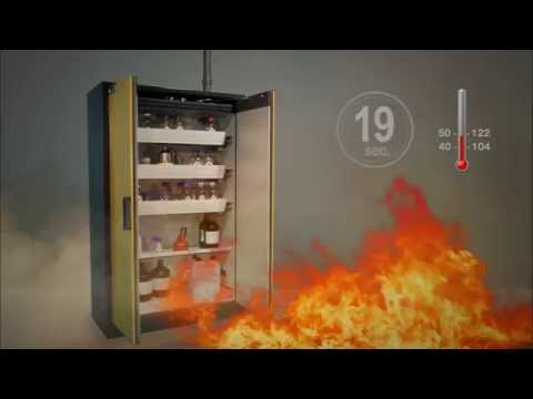 Safety features of a type 90 fire rated safety storage cabinet