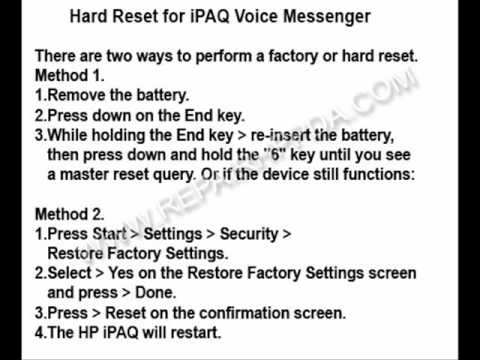 How to Soft and Hard Reset for HP iPAQ Voice Messenger