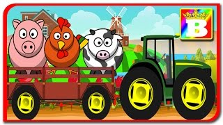 Tractorul duce animale la ferma animale domestice.  Desene animate in limbo romana.  Bogan`s Show.