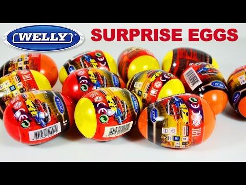 Surprise Eggs Cars Welly Kinder Toys . Распаковываем Машинки сюрпризы для детей Welly  Игрушки ТВ