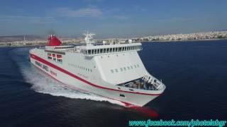 Aerial (drone) video - Knossos Palace leaving Piraeus