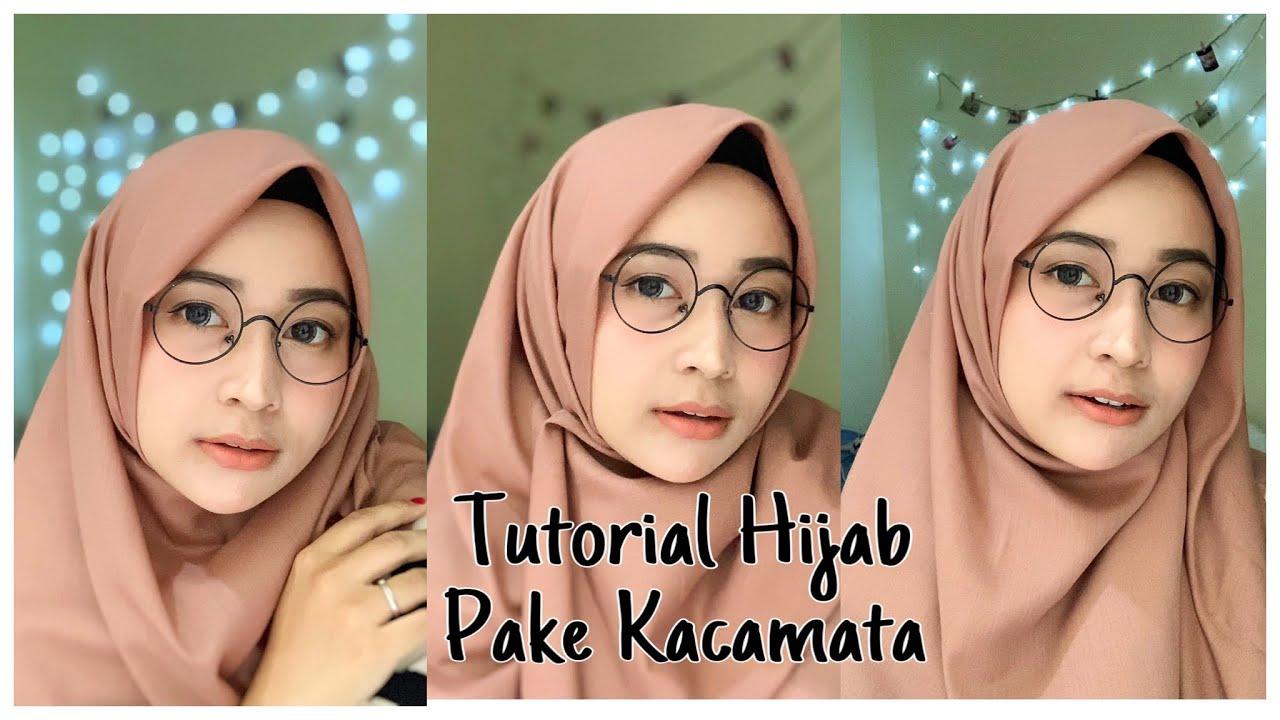 Tutorial Hijab Segiempat Pake Kacamata Menutup Dada Simpel Cuma 1 Menit Youtube