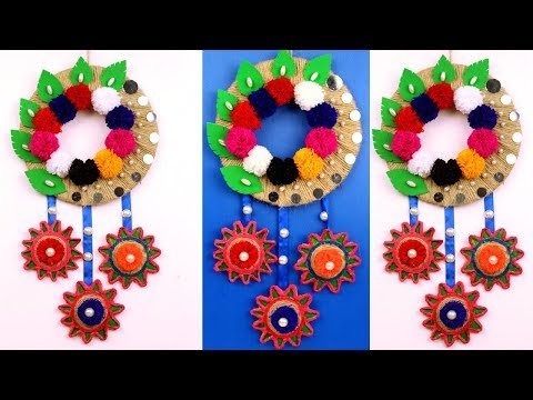 diy-easy-wall-hanging-craft-ideas---wall-hanging-making-from-best-out-of-waste---easy-craft-ideas
