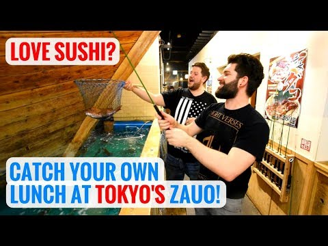 Crazy Sushi in Japan - Catch Your Own Lunch at Zauo!