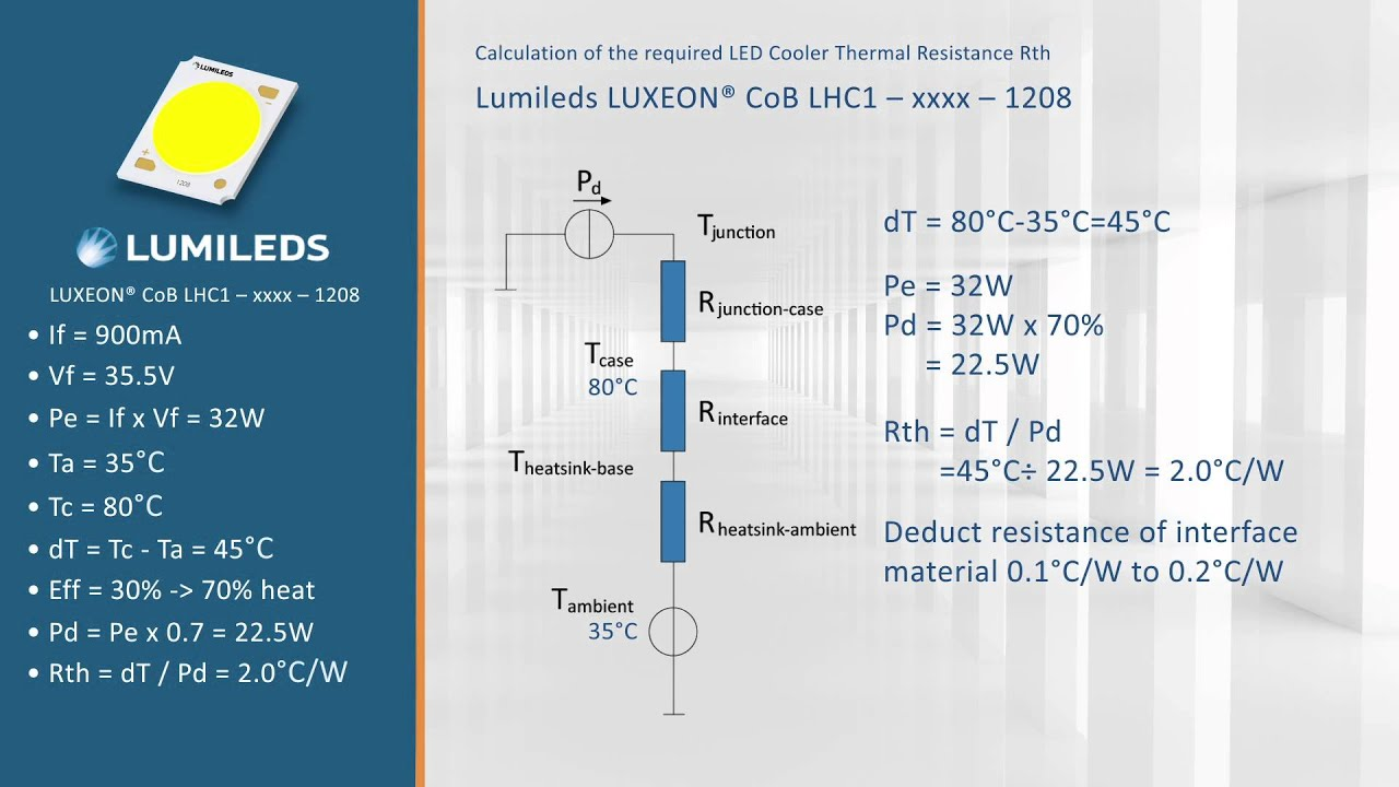 lumileds luxeon 1208 cob led module how to select the correct led cooler thermal calculation [ 1280 x 720 Pixel ]