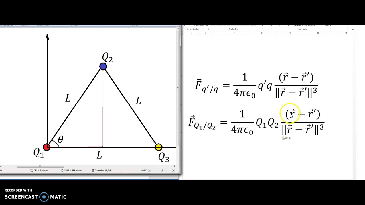 Ley de Coulomb Triangulo equilátero I - YouTube