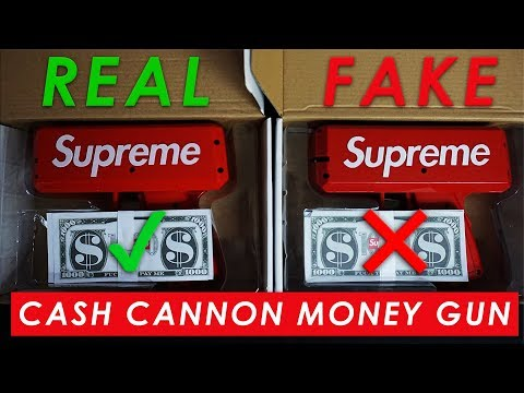 SUPREME CASH CANNON MONEY GUN - Real Vs  Fake (LEGIT CHECK) - YouTube
