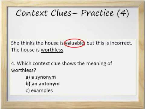 Context Clues Video and Worksheet - Synonyms, Antonyms, Cogn