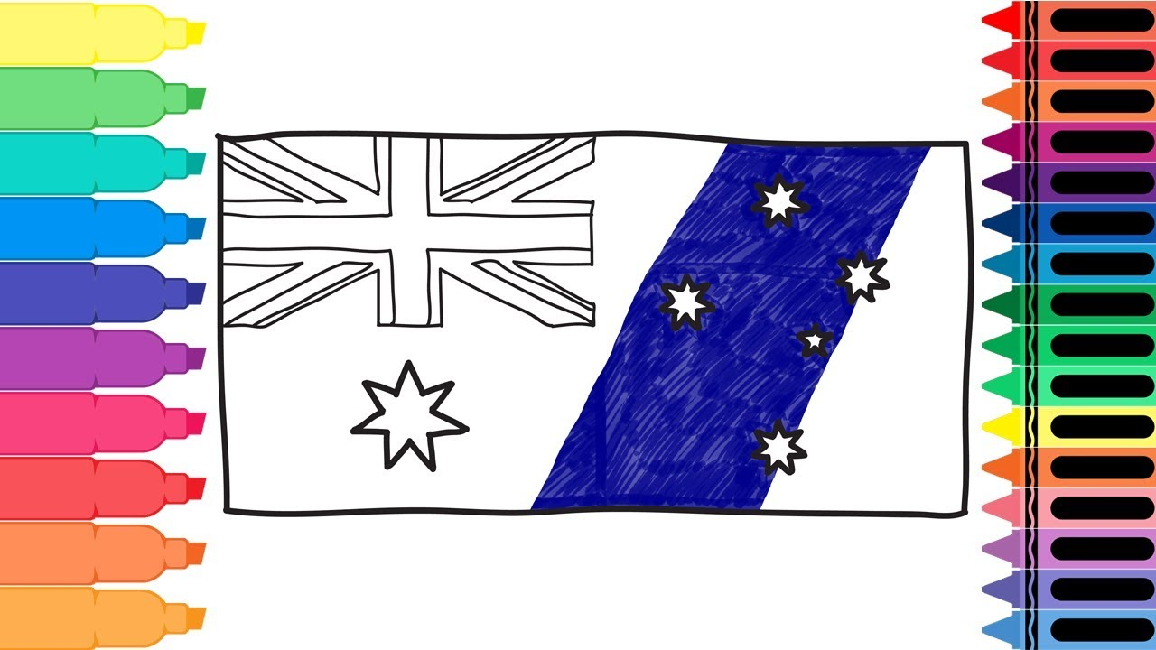 how to draw australia flag - drawing the australian flag