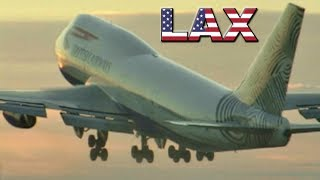 BRITISH Boeing 747 Sunset takeoff at Los Angeles (2001)