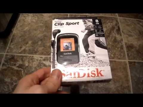 Unboxing SanDisk Sansa Clip Sport 8GB Mp3 Player Micro SD Expansion