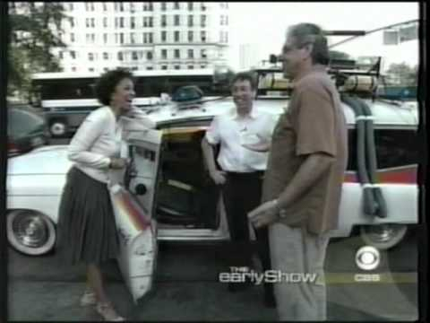 "Ivan Reitman & Harold Ramis show off the Ghostbusters Car on ""The Early Show"""