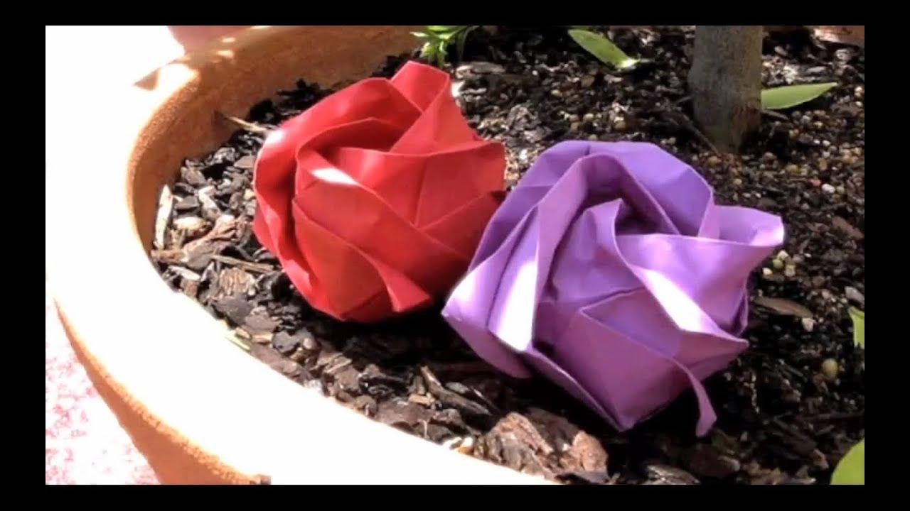 How to Make an Origami Rose (Kawasaki) - YouTube - photo#33