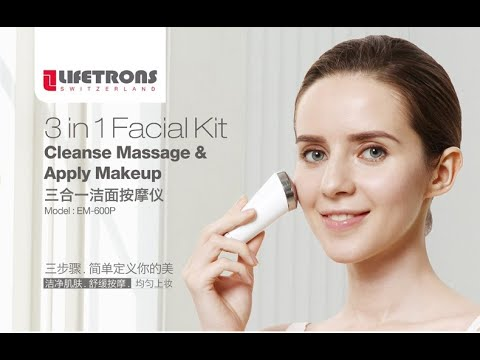 LIFETRONS EM-600P 3-in-1 Facial Kit (Cleanse,Massage,Makeup Application)