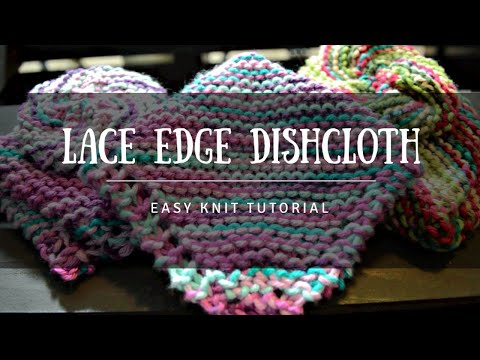 How To Knit Lace Edge Garter Dishcloth Beginners Tutorial Free