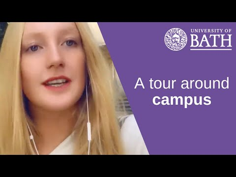 A student tour around the University of Bath campus
