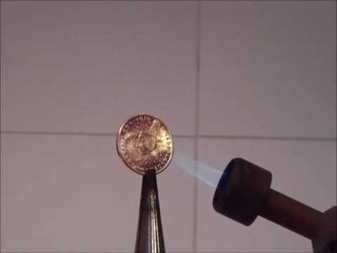Chemistry experiment 17 - Silver and gold colored coin