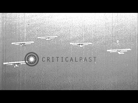 United States Navy Felixstowe F5L flying boat fly in formation over sea in the Un...HD Stock Footage