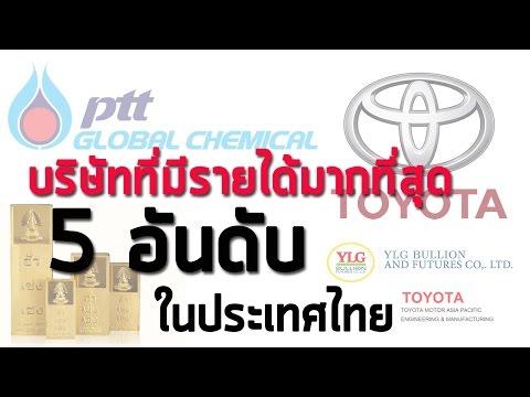 บริษัทที่มีรายได้มากสุดในประเทศไทย 5 อันดับ