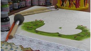 Pintura em tecido – Como pintar um chão muito fofo! Ursinha Carol – parte 1