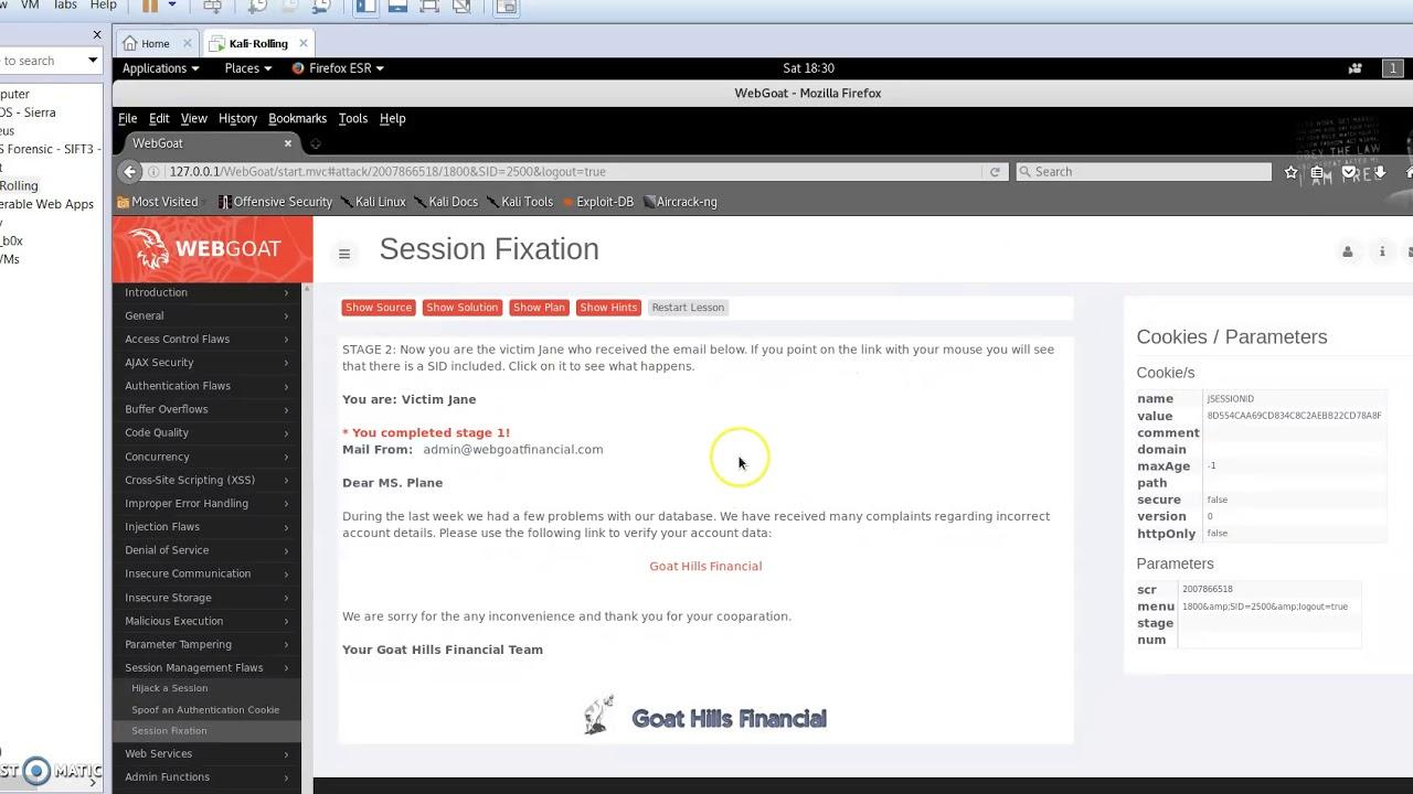 OWASP WebGoat - Session Fixation Attack - Session Hijacking