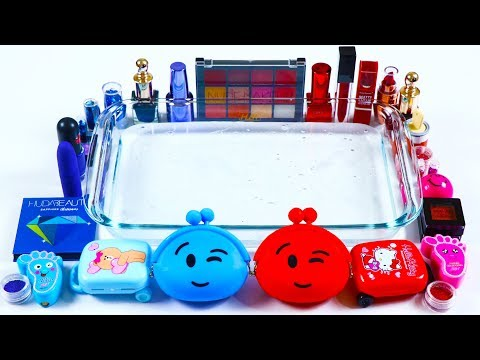 Blue Vs Red Makeup : Mixing Makeup Eyeshadow Into Clear Slime! Satisfying Slime Videos#3 - 동영상