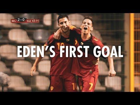 Eden's first goal against Kazakhstan