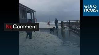 Sea foam makes waves in Cornish seaside resort of Bude