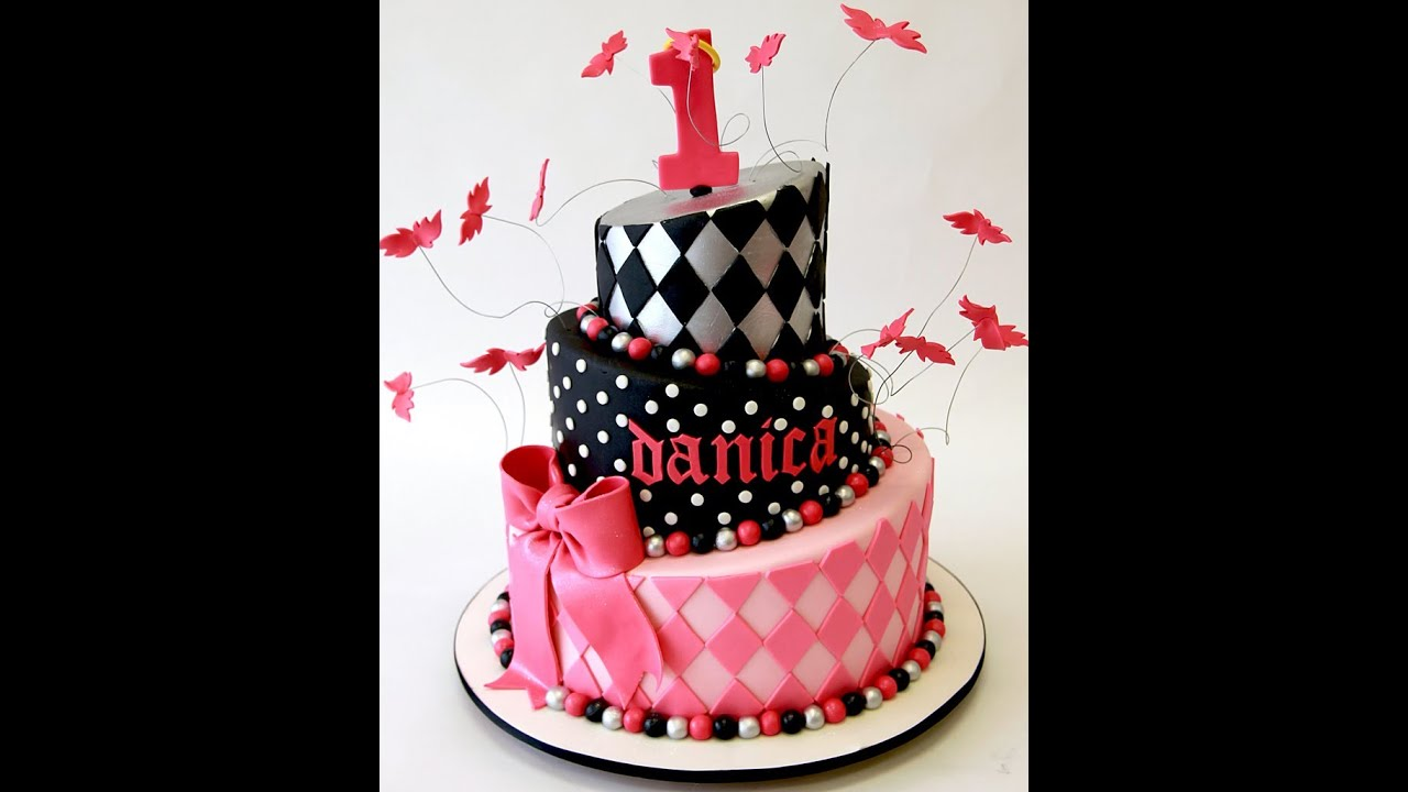1st Birthday Hot Pink Topsy Turvy Cake Youtube