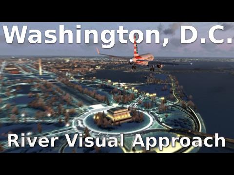 [FSX] Washington, D.C. RIVER VISUAL APPROACH (NEW SCENERY!)