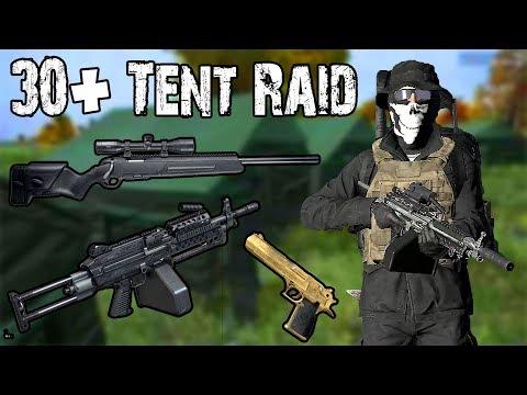 30+ TENT BASE RAID! (M249 + Scout + Deagle) - DayZ Standalone 0.62 EP16