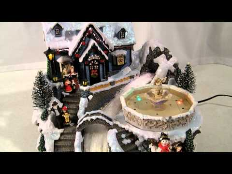 AVON FIBER OPTIC MUSICAL FOUNTAIN CHRISTMAS VILLAGE w/ LIGHTED FOUNTAIN