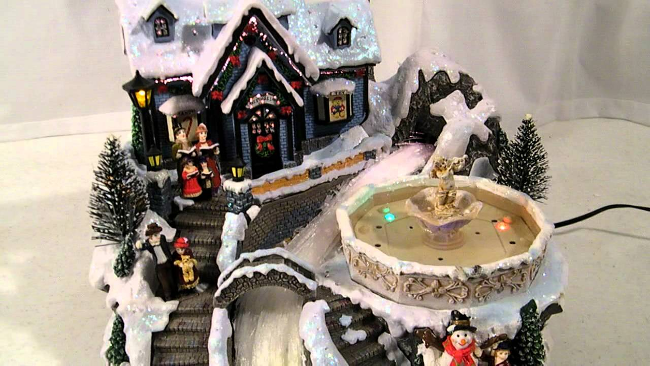 AVON FIBER OPTIC MUSICAL FOUNTAIN CHRISTMAS VILLAGE w/ LIGHTED ...